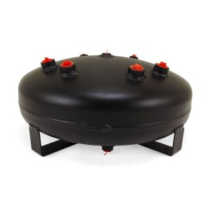 4 Gallon Air Tank; (1) 1/8 in.  bottom drain port, (1) 1/4 in.  port, (2) 3/8 in.  ports, & (4) 1/2 in.  ports; 8 in.  H x 16 in.  D ; Interior and exterior of this tank is powder coated black to resist rust; DOT Approved