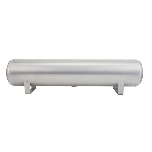 4 Gallon Aluminum Air Tank; (2) 1/4 in.  & (2) 3/8 in.  end ports; 6 in.  D X 30 in.  L, light weight, raw aluminum, 200PSI maximum operating pressure.
