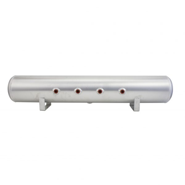 4 Gallon Aluminum Air Tank; (2) 1/4 in.  & (2) 3/8 in.  end ports; 6 in.  D X 30 in.  L, light weight, polished aluminum, 200PSI maximum operating pressure.