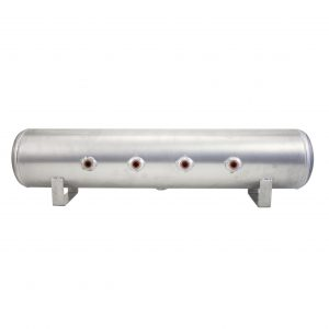 5 Gallon Aluminum Air Tank; (4) 3/8 in.  face ports; 6 in.  D X 36 in.  L, light weight, raw aluminum, 200PSI maximum operating pressure.