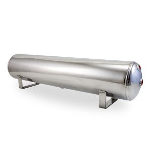 4 Gal Aluminum Air Tank; (4) 1/4 in.  face ports & (2) 3/8 in.  end ports; 6 in. D X 30 in. L, light weight, raw aluminum, 200PSI maximum operating pressure.