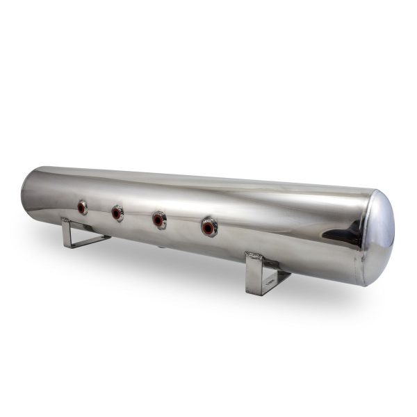 4 Gal Aluminum Air Tank; (4) 1/4 in.  face ports & (2) 3/8 in.  end ports; 6 in. D X 30 in. L, light weight, polished aluminum, 200PSI maximum operating pressure.