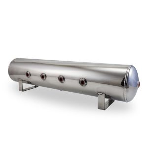 2.5 Gallon Aluminum Air Tank; (4) 1/4 in.  face ports; 6 in.  D X 20 in.  L, light weight, raw aluminum, 200PSI maximum operating pressure.